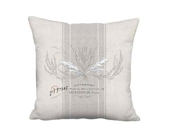 Country Farmhouse Brambles French Grey Grain Sack Style Linen Cotton Pillow Cover - 16x 18x 20x 22x 24x 26x 28x Inch French Country Pillow