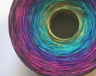 Colour Change Gradient Yarn - insanity - Moca Cotton Yarn - 12 colors - 1050 yards - fingering yarn - cotton
