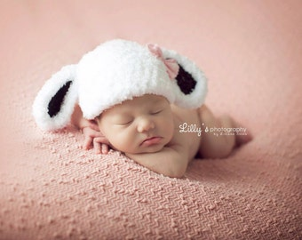 Baby Girl Lamb Hat - Baby Girl Photo Prop Hat - Newborn Prop Girl - Easter Photo Prop - Baby Lamb Hat - Little Lamb Hat - White w/Black Ears