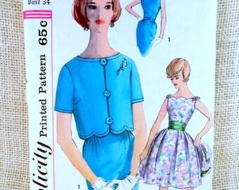 Vintage Pattern Simplicity 3997 1960s Rockabilly bolero prom dress party full skirt Bust 34 Formal Short sleeve cummerbund scalloped Pinup