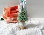 Bottle Brush Tree Blue Christmas Blue Glittered Spool Bling Decoration
