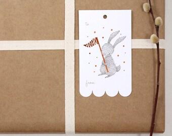 10 Copper Foil Tags - Winter Rabbit