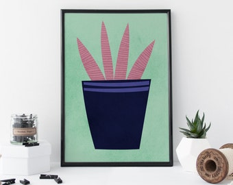 CACTUS Art House Plant Art Still Life Art Cactus Art Print House Plant Art Print Still Life Art Print - Home Decor Artwork - 8 x 11 Print