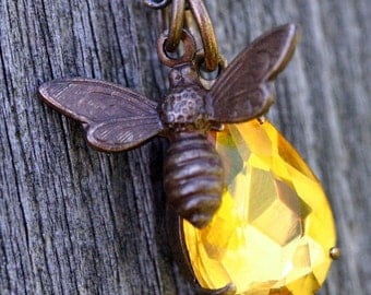 Bee Necklace Topaz Crystal Honey Bee Necklace Gold Pear Rhinestone Necklace Gift Bridal