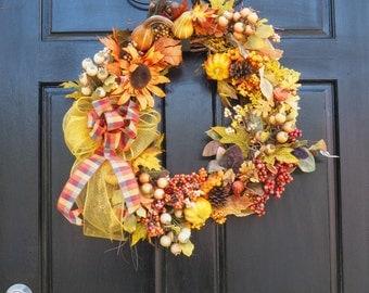 plaid bow wreath, sunflower harvest berry wreath, autumn colors wreath