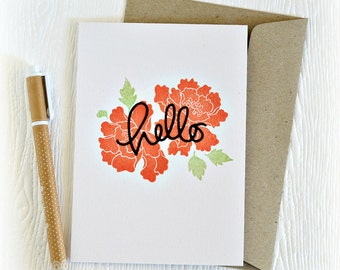 Hello card // handmade floral greeting card // all occasion card // red flowers