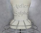 Silver lame color color Crinoline hoop skirt pannier 4 rows elastic waist simple cage