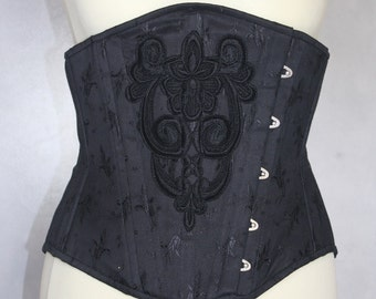 black bell pattern coutil underbust boned cinched corset with applied guipure