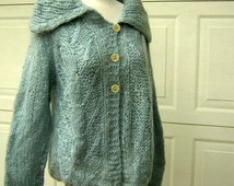 Mohair Sweater Hand Knit Cardigan Italy Vintage 60s Cable Knit Classic Baby Blue & Big Collar - Bust 53""