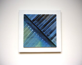 Geometric abstract painting, 8 x 8 art on wood, diagonal stripes, gifts for men