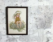 Vintage Framed Painting of Little Girl