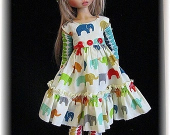 Elephant Parade-4 Pc outfit for 45 cm Kaye Wiggs MSD & Similar by Fantasy Frocks Designs