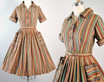 Vintage 50s Day Dress / 1950s SUNDRESS Mexican Cotton Ethnic Rainbow STRIPES SHIRTWAIST Full Swing Skirt Garden Pinup Rockabilly S Small