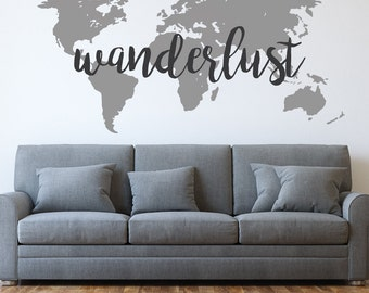 Wanderlust   World Map   Wanderlust Decal   World Map Decal   Travel   Wall  Decals