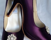 Purple Wedding Shoes Closed Toe Bridal Shoes with Sparkling Swirl Flower Crystal Brooch - Dyeable Bridal Shoes - Pick your Color