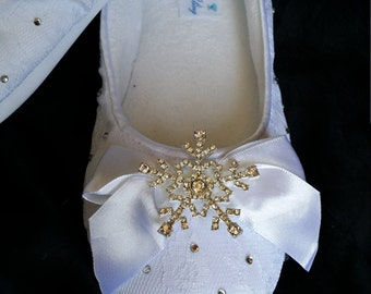 Wedding Shoes Ballet Flats with Crystal Snowflake