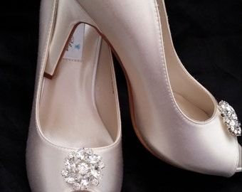 Wedding Shoes Crystal Bridal Shoes Pick your Color - White bridal shoes - Ivory Wedding Shoes Dyeable Wedding Shoes