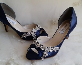 Blue Wedding Shoes Bridal With Imported Crystal Design Navy