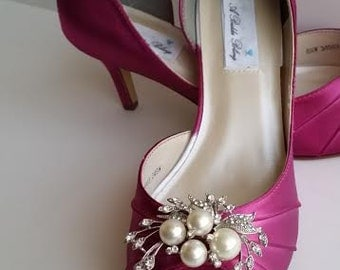 6280b90d67f fuchsia wedding shoes fuchsia bridal shoes with pearl and crystal cascade  design over 100 custom color