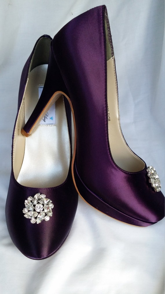 purple wedding shoes closed toe bridal shoes with sparkling swirl