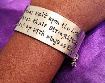 Isaiah 40:31 Hand stamped bible verse cuff charm bracelet