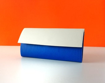 Ivory Cobalt blue vegan wallet / Two toned clutch wallet / vegan wallet / non leather wallet / fall womens wallet / Christmas gift for her