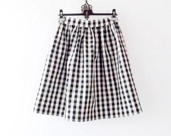 Handmade Gingham Full skirt - 50's style Full Skirt womens - Black and White Retro skirt - Gathered Skirt - Rockabilly knee length skirt