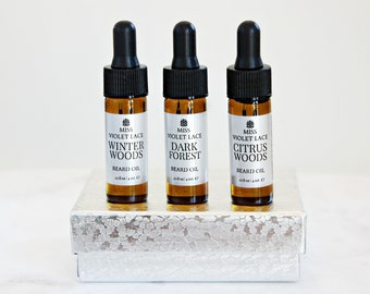 Beard Oil Sampler set | Father's Day Gifts for Him | Trial Size Beard Oil | 100% natural + vegan beard oils | Set of 3.