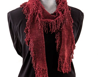 Fringed Red Chenille Scarf, Bamboo