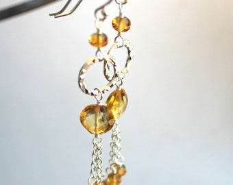 Citrine Earrings Long Dangle Sterling Silver Beaded Hammered Circles Tassel Chains November Birthstone