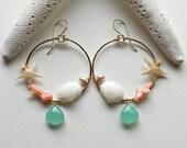 Sea Shell Hoop Earrings, Real Starfish Earrings, Beachy Hoop Earrings, Peach Aqua Hoops, Pink Mint Earrings, Boho Beach Hoops