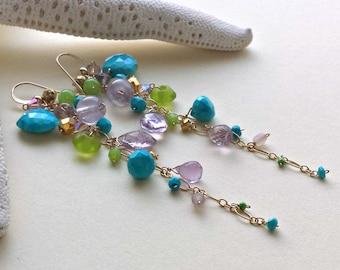 Turquoise Lavender Gemstone Earrings, Long Boho Dangle Earrings, Blue Green Purple Dangle
