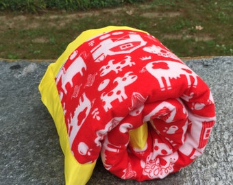 Flannel Baby Blanket   Red Baby Blanket   Yellow Minky Baby Blanket   Handmade Blanket   Baby Boy Blanket   Baby Girl   School Blanket