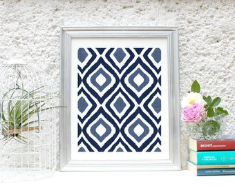 """Printable wall art """"Ikat"""",poster,Instant Download,wall decor,5 different sizes for the price of 1.Home decor.Navy blue & Indigo. Geometric."""
