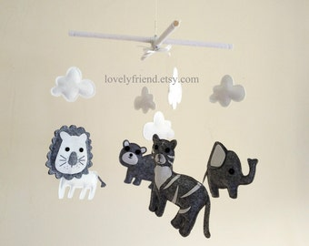 """Baby Crib Mobile - Baby Mobile - Jungle Tiger Decorate Neutral Mobile - """"White and Grey Jungle Animals"""" mobile  (Pick your color)"""