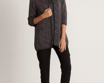 Gray jacquard cardigan, 3/4 sleeves, winter open sweater, knitted pocketed top, printed top, scoop neck, knitted top