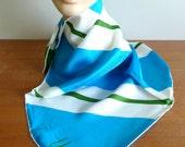 "60s Vera Scarf - All Silk - Bold Blue Green White Diagonal Stripes - Designer Vera Neumann - Vintage 1960s - 23"" square"