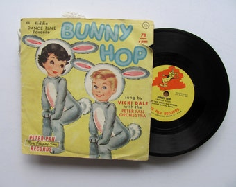 Vintage Bunny Hop Record Apple on a Stick Vinyl Peter Pan Records Rabbit Ears Dance Music Children Game Easter Costume Nursery Party Decor