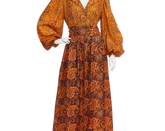 Vintage 60's Bullocks Wilshire Brown Psychedelic Ethnic PAISLEY Print Poet Sleeves Belted Empire Waist Hippie Boho Festival Maxi DRESS