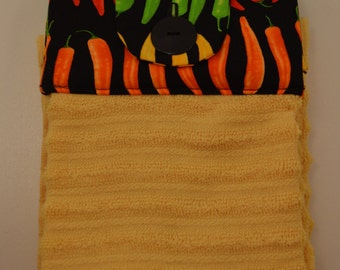 Hanging Kitchen Towels, Set of 2, Chili Peppers, Kitchen Towels, Hanging Towels, Bathroom Towels