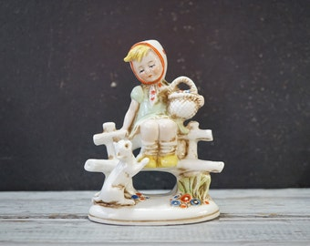 German Figurine Girl with Cat