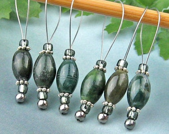 Stitch Markers, Knitting, Moss Agate, Semi-Precious Stones, Green, Snag Free, Jeweled Tool, Knitting Accessory, Handmade, Gift for Knitters