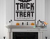 Trick or Treat Halloween Wall Decal - Halloween decoration - art deco decor