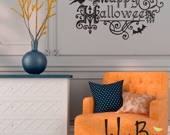 Happy Halloween wall decal with bats and raven in orange or black - Halloween Decor