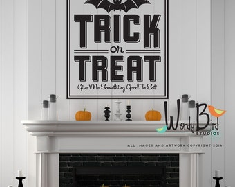 Trick or Treat Halloween Wall Decal - Halloween decoration - art deco decor