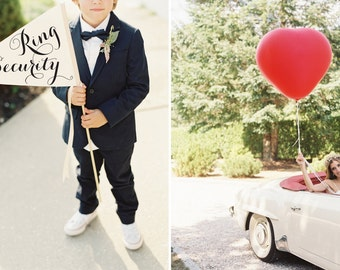 RING SECURITY Wedding Sign | Funny Ring Bearer Wedding Banner Large Pennant Flag For Your Ringbearer Made To Order USA | Modern Script 1049