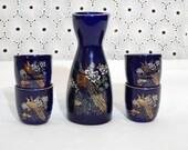 STUNNING ~ Vintage Peacock Saki Set~5 Piece Cobalt Blue & Gold Porcelain