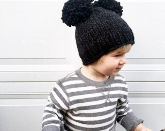 Mouse Ear Pom Hat / Double Pom Pom Beanie / Baby Toddler Kids Knit Hat