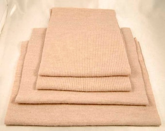 FELTED MERINO WOOL Oatmeal Color Ribbed and Plain Pieces Sweater Scraps 1482