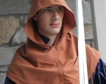 Medieval Hood Brown Upcycled Cotton with Liripipe